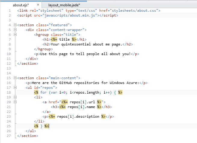 WebMatrix has IntelliSense for EJS