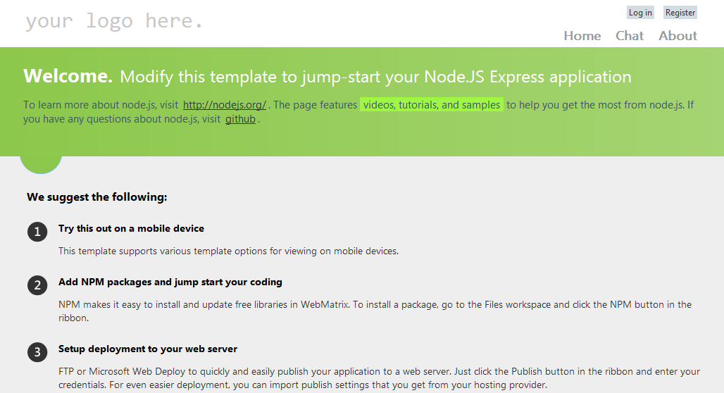 The node starter template