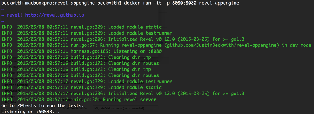 """Running revel in docker"""