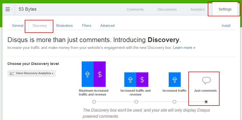 turn off discovery under settings->discovery->Just comments
